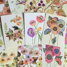 LOT 22PCS Postcard Watercolor Flowers Birds Butterfly Spring Cards Set Bulk