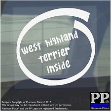 1 x West Highland Terrier all'interno-Finestra, Auto, Furgone, STICKER, SEGNO, Adesivo, Cane, Pet