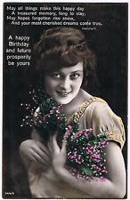 Vintage Birthday Postcard 'A Happy Birthday & Future Prosperity Be Yours' 1928