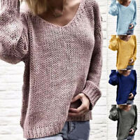 Women's Fashion V-neck Long Sleeve Solid Color Sweaters and Knitted Sweaters Top