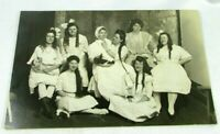 c 1910 Women Dressed As Children Play Theatre RPPC Real Photo AZO Postcard