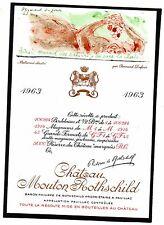 PAUILLAC 1E GCC ETIQUETTE CHATEAU MOUTON ROTHSCHILD 1963 75 CL DECOREE §6/03/17§