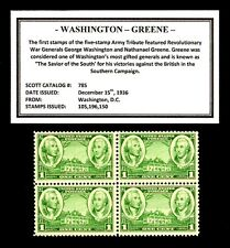 1936 - Washington - Greene - Mint -Mnh- Block of 4 Vintage Postage Stamps