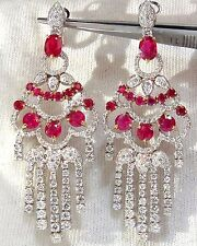 11.20ct NATURAL RED RUBY DIAMOND DANGLING CHANDELIER EARRINGS OMEGA 18KT+
