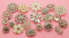 21 Mixed Clear Glass Rhinestone Silver Metal Shank Buttons 15-30mm Great Price!