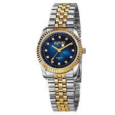 Women's August Steiner AS8046TTGBU Two Tone Diamond Markers Steel Bracelet Watch