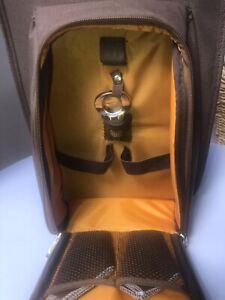 Wine Carrier Tote Bag - Insulated Wine Bottle Holder Picnic Set Brown/ Orange