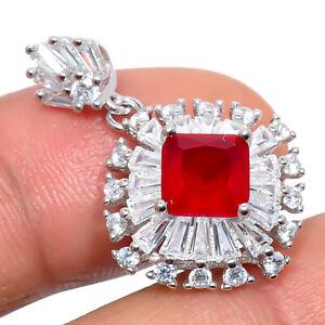 "Ruby & White Topaz Gemstone 925 Sterling Silver Handmade Pendant 1.15"" T2740"