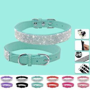 Rhinestone Dog Collar Diamante PU Leather Adjustable Necklace Bling Cat Collars