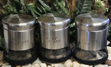 NEW IN BOX 3pc SET KITCHEN TEA SUGAR COFFEE CANISTER JAR SET GLASS & STAINLESS