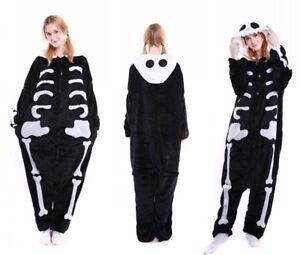 Halloween Skeleton Onesiee Kigurumi Fancy Dress Costume Pyjama Sleep wear suit