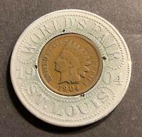 1904 ENCASED World's Fair St. Louis Indian Head Cent Lucky Penny #2