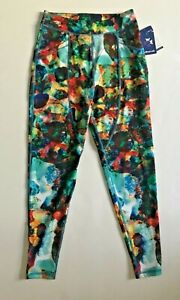 New WITHOUT WALLS Women Rainbow Watercolor Yoga Activewear Leggings S Free Ship
