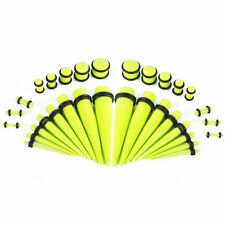 Yellow Glow In The Dark Ear Stretching Tapers With Plugs -36 Pieces 14G-00G