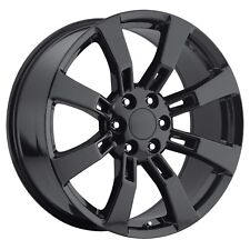 "Set (4) 22"" Gloss Black Cadillac Escalade GMC Denali Replica Wheels Rims Set"