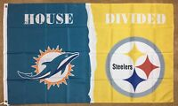 """Miami Dolphins vs Pittsburgh Steelers """"House Divided"""" FLAG 3x5 ft Banner NFL"""