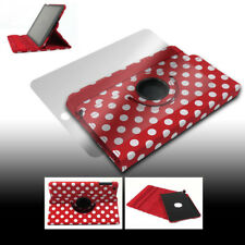 CASE COVER+SCREEN PROTECTOR SWIVEL STAND PU RED DOT APPLE IPAD 2 2ND 3RD 4TH GEN