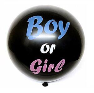 "XL Gender Reveal Black 36"" Balloon Baby Girl Pink & Baby Boy Blue Confetti inc"