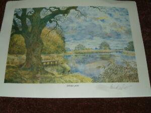 4 signed Bernard Venables prints roach tench no carp fishing angling pike barbel