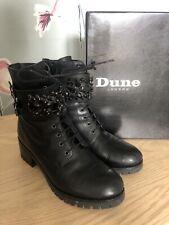 Dune Pasaden Black Boots Lace Up Embellished Size 4