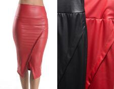 Black Red High Waist Casual Business Career Plain Mid-Calf Pencil Skirt S - 3XL