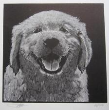 Barry Moser Engraving Lithograph Art Print 62/100 Happy Puppy Service Dog NEADS