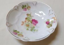 "Vintage Small 5"" Dessert Bowl Red-Yellow-Pink Roses Gold Trim Germany Used Good"