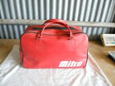 Vintage Mitre Soccer Equipment Gear Duffel Bag Red/Orange Vinyl Nice Condition