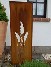 Edelrost Garten Sichtschutzwand Rost Metall massivPampasgras 150x50cm