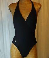 LAUREN RALPH Cross Over Halter Top Bathing Suit One Piece Swimsuit Black Size 6