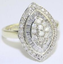 9ct Gold Baguette And Round Cut Diamond Cluster Ring 0.75ct