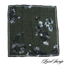 Boglioli Made Italy Wool Silk Olive Voile Blue Watercolor Floral Pocket Square