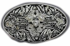 New Women Men Fashion Belt Buckle Silver Metal Bling Filigree Floral Bling Leaf