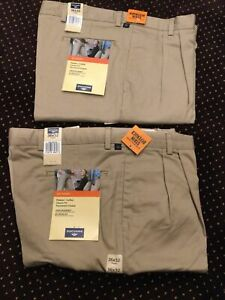 2 MENS DOCKERS GO KHAKI PANTS SLACKS TAN PLEATED CUFFED CLASSIC FIT 36 X 32