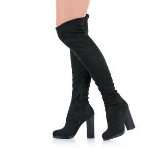 Overknee Stiefel Blockabsatz High Heels 10 - 13 cm Schwarz Alcantara EU 36 - 47
