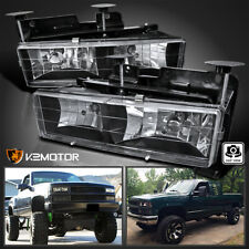 For 1988-1998 Chevy Gmc C10 C/K Truck Black Headlights Lamps Replacement Pair