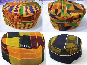 Mens Kente Print Hat vintage Hippie Boho African Traditional Kufi Cap one Size