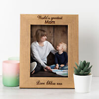 Personalised Mothers Day Gifts Photo Frame Engraved Wooden Anniversary Wedding