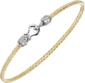 "Charles Garnier ""Jane"" Gold-Plated & Sterling Silver Woven CZ Bangle Bracelet"
