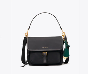 Tory Burch NY NEW Perry Black Nylon Bag 2 Straps Buckle Zip Cross Body $198 AUTH