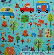 BonEful Fabric FQ Cotton Quilt Camp*er Kid Tent Car Mushroom Animal Paw Tree OWL