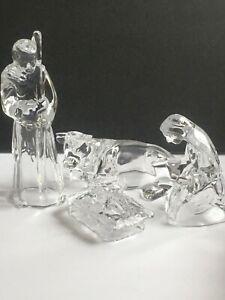 Cristal D'Arques 4 PC Crystal Nativity Set Jesus Mary Joseph Cow France Used Box