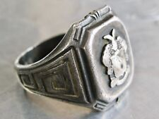 ANTIQUE STERLING SILVER MANS MENS CREST SIGNET GREEK KEY TORONTO RING SZ 8.75
