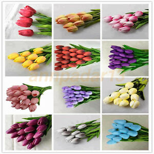 PU Tulip Artificial Flower For Wedding Party Home Decor Real Flowers