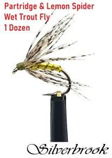 12 PACK Silverbrook Partridge & Lemon Spider Wet Trout Flies on Hayabusa Hooks