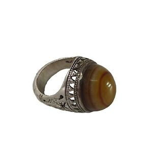 Vintage 925 Sterling Silver Ring Brown Yemeni Aqeeq Agate Stone Men Jewelry Gift