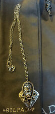 "Silpada N2801 ""Art Deco Necklace"" 18 in.Sterling Silvr Cubic Zirconia+free cloth"