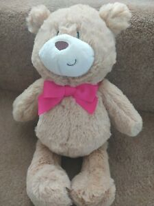 TESCO WITH LOVE GOLDEN BROWN PINK BOW TEDDY BEAR SOFT TOY