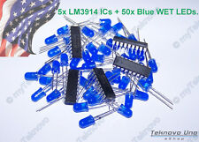 5x LM3914 IC Bargraph Dot Driver + 50x BLUE WET Diffused Round 5mm LED - USA