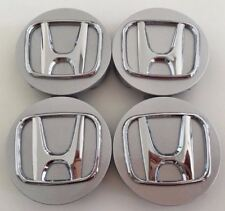 "4x 58mm 2.25"" SILVER CHROME WHEEL BADGE CENTER HUB CAPS FOR HONDA CIVIC INTEGRA"